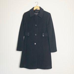 Via Spiga Black Wool Mid Length Dress Coat